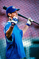 Shawn Green of the Toronto Blue Jays plays in a baseball game at Edison International Field during the 1998 season in Anaheim, California. (Larry Goren/Four Seam Images)