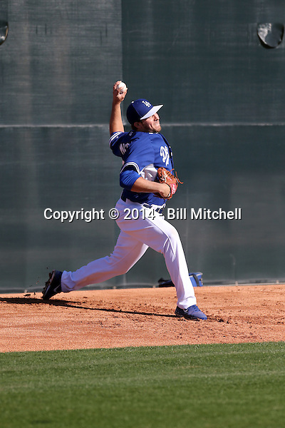 Daniel Moskos of the Los Angeles Dodgers participates in the first day of spring training workouts at Camelback Ranch on February 9, 2014 in Glendale, Arizona (Bill Mitchell)