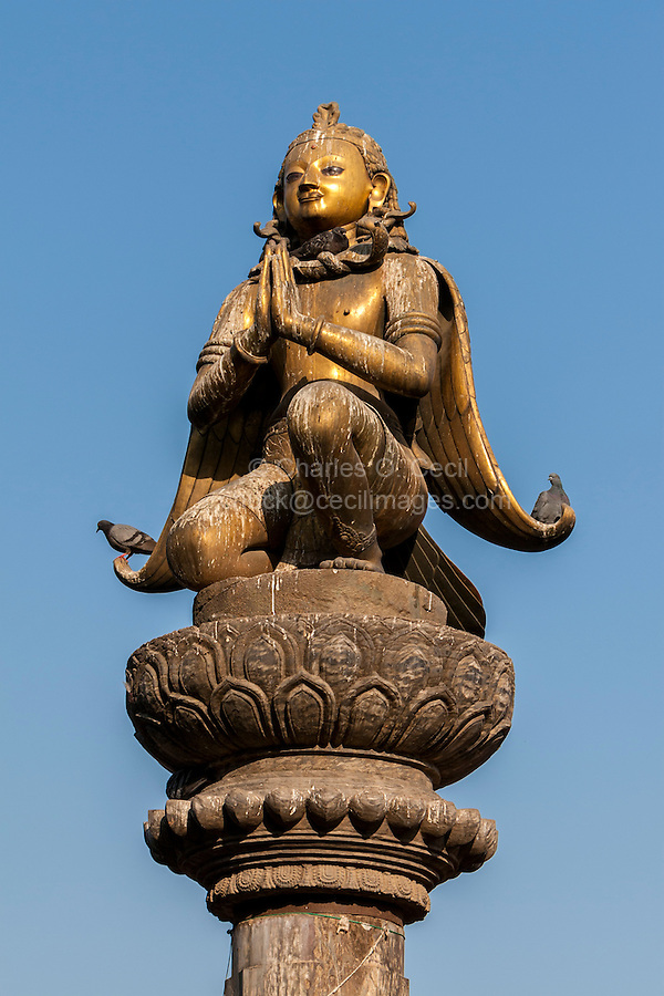 Nepal, Patan, Durbar Square.  Garuda Statue, Hands in Namaste Gesture of Greeting, February 19, 2009.  The statue survived the earthquake of April 25, 2015.