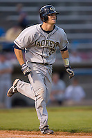 Jason Haniger #29 of the Georgia Tech Yellow Jackets hustles down the first base line versus the Wake Forest Demon Deacons at Wake Forest Baseball Park April 18, 2009 in Winston-Salem, NC. (Photo by Brian Westerholt / Four Seam Images)