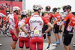 Cofidis and Bahrain Victorious chat at sign on before the start of Stage 5 of the 2021 UAE Tour running 170km from Fujairah to Jebel Jais, Fujairah, UAE. 25th February 2021.  <br /> Picture: Eoin Clarke   Cyclefile<br /> <br /> All photos usage must carry mandatory copyright credit (© Cyclefile   Eoin Clarke)