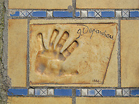 Hand print of the film star, Gerard Depardieu, outside the Palais des Festivals et des Congres, Cannes, France.