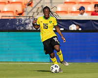 HOUSTON, TX - JUNE 10: Tiffany Cameron #15 of Jamaica dribbles the ball during a game between Nigeria and Jamaica at BBVA Stadium on June 10, 2021 in Houston, Texas.