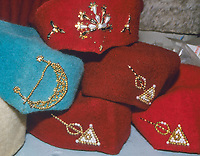 Tunisian Hat, Chechia.  Women's Hats, with Decorations.