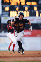 West Virginia Black Bears second baseman Mitchell Tolman (37) running the bases during a game against the Batavia Muckdogs on August 30, 2015 at Dwyer Stadium in Batavia, New York.  Batavia defeated West Virginia 8-5.  (Mike Janes/Four Seam Images)