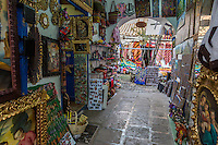 Peru, Cusco.  Entrance to Curio Shop Selling Souvenirs and Art Work.