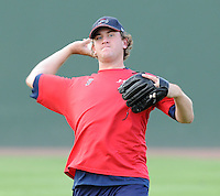 August 25, 2009: RHP Mike Lee (26) of the Greenville Drive, Class A affiliate of the Boston Red Sox, in a game at Fluor Field at the West End in Greenville, S.C. Photo by: Tom Priddy/Four Seam Images