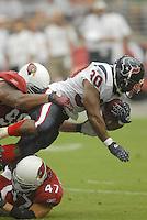 Aug 18, 2007; Glendale, AZ, USA; Houston Texans running back Ahman Green (30) is tackled by the Arizona Cardinals in the second quarter at University of Phoenix Stadium. Mandatory Credit: Mark J. Rebilas-US PRESSWIRE Copyright © 2007 Mark J. Rebilas