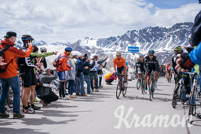 last grupetto coming up the Passo dello Stelvio (alt: 2758m)<br /> <br /> Stage 16: Rovett › Bormio (222km)<br /> 100th Giro d'Italia 2017