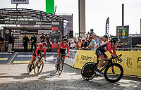 The Womens Team Austria rolling off the start ramp in Brugge<br /> <br /> Mixed Relay TTT <br /> Team Time Trial from Knokke-Heist to Bruges (44.5km)<br /> <br /> UCI Road World Championships - Flanders Belgium 2021<br /> <br /> ©kramon