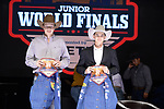 Pierce Wold, Dean Sherbo, during the Team Roping Back Number Presentation at the Junior World Finals. Photo by Andy Watson. Written permission must be obtained to use this photo in any manner.