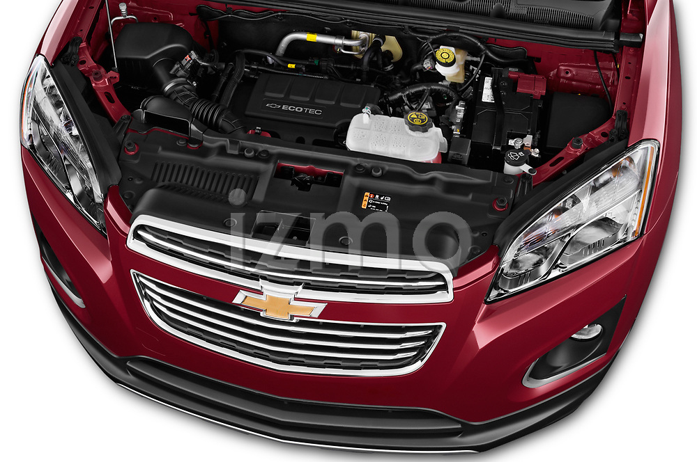 Car Stock 2015 Chevrolet Trax LTZ 5 Door SUV Engine high angle detail view