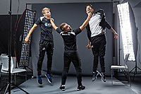 Pictured: Max Webborn, Adam Stepien and Ewan Donaldson. Thursday 29 August 2018<br /> Re: Swansea City FC player and staff profile photo-shoot at Fairwood Training Ground, Wales, UK