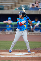 Yohendrick Pinango (15) of the Myrtle Beach Pelicans at bat against the Lynchburg Hillcats at Bank of the James Stadium on May 22, 2021 in Lynchburg, Virginia. (Brian Westerholt/Four Seam Images)