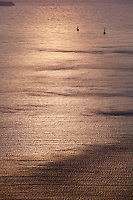 Boats on the Aegean sea at sunset, Santorini, Greece