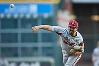 Arkansas Razorbacks starting pitcher Connor Noland (13) delivers a pitch to the plate against the Oklahoma Sooners in game two of the 2020 Shriners Hospitals for Children College Classic at Minute Maid Park on February 28, 2020 in Houston, Texas. The Sooners defeated the Razorbacks 6-3. (Brian Westerholt/Four Seam Images)