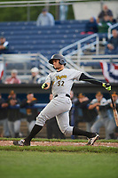West Virginia Black Bears catcher Yoel Gonzalez (52) at bat during a game against the Batavia Muckdogs on June 24, 2017 at Dwyer Stadium in Batavia, New York.  The game was suspended in the bottom of the third inning and completed on June 25th with West Virginia defeating Batavia 6-4.  (Mike Janes/Four Seam Images)