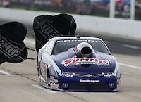 Apr 26, 2015; Baytown, TX, USA; NHRA pro stock driver Jason Line during the Spring Nationals at Royal Purple Raceway. Mandatory Credit: Mark J. Rebilas-