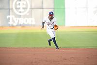 Northwest Arkansas Naturals infielder D.J. Burt (1) fields a ball on May 6, 2019, at Arvest Ballpark in Springdale, Arkansas. (Jason Ivester/Four Seam Images)