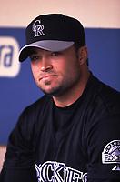 Mike Hampton of the Colorado Rockies during a 2001 season MLB game at Dodger Stadium in Los Angeles, California. (Larry Goren/Four Seam Images)