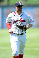 Bryce Brentz (25) of the Pawtucket Red Sox jogs off the field between innings of the a game versus the Scranton/Wilkes-Barre RailRiders at McCoy Stadium on May 27, 2015 in Pawtucket, Rhode Island. (Ken Babbitt/Four Seam Images)