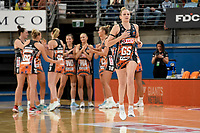 6th June 2021; Ken Rosewall Arena, Sydney, New South Wales, Australia; Australian Suncorp Super Netball, New South Wales, NSW Swifts versus Giants Netball; Jo Harten of the Giants Netball runs onto court