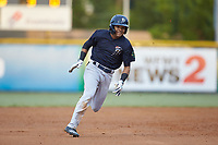 Madison Santos (58) of the Pulaski Yankees legs out a triple during the game against the Burlington Royals at Burlington Athletic Stadium on August 25, 2019 in Burlington, North Carolina. The Yankees defeated the Royals 3-0. (Brian Westerholt/Four Seam Images)