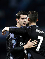 Football Soccer: UEFA Champions League Round of 16 second leg, Napoli-Real Madrid, San Paolo stadium, Naples, Italy, March 7, 2017. <br /> Real Madrid's Alvaro Morata (l) celebrates with Cristiano Ronaldo (r) after scoring  during the Champions League football soccer match between Napoli and Real Madrid at the San Paolo stadium, 7 March 2017. <br /> Real Madrid won 3-1 to reach the quarter-finals.<br /> UPDATE IMAGES PRESS/Isabella Bonotto