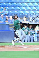 Greensboro Grasshoppers Nick Gonzales (2) swings at a pitch during a game against the Asheville Tourists on August 24, 2021 at McCormick Field in Asheville, NC. (Tony Farlow/Four Seam Images)