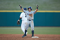 Rylan Bannon (6) of the Xavier Musketeers celebrates a double against the Penn State Nittany Lions at Coleman Field at the USA Baseball National Training Center on February 25, 2017 in Cary, North Carolina. The Musketeers defeated the Nittany Lions 7-5 in game two of a double header. (Brian Westerholt/Four Seam Images)