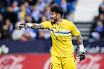 Goalkeeper Iago Herrein of Deportivo Leganes reacts during their La Liga match between Deportivo Leganes and Real Madrid at the Estadio Municipal Butarque on 05 April 2017 in Madrid, Spain. Photo by Diego Gonzalez Souto / Power Sport Images