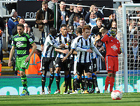Jamaal Lascelles (3rd from left) of Newcastle United celebrates scoring their first goal with team mates during the Barclays Premier League match between Newcastle United and Swansea City played at St. James' Park, Newcastle upon Tyne, on the 16th April 2016