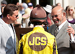 March 2010:  Owner James C. Spence, trainer Ralph E. Nicks and jockey Robby Albarado talk before the Mervin H. Muniz Jr. at the Fair Grounds in New Orleans, La.