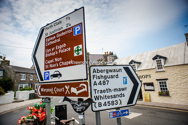 Thursday  19  June  2014<br /> <br /> Pictured: View of road sign at  St.Davids, Wales Re:  Views of St Davids