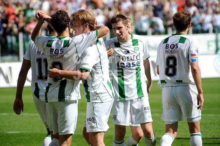 voetbal fc groningen - fc utrecht play off eredivisie seizoen 2007-2008 04-05-2008  groningen viert de 3-1.. fotograaf Jan Kanning