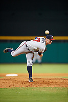 Mississippi Braves relief pitcher Evan Phillips (37) delivers a pitch during a game against the Montgomery Biscuits on April 26, 2017 at Montgomery Riverwalk Stadium in Montgomery, Alabama.  Montgomery defeated Mississippi 5-2.  (Mike Janes/Four Seam Images)