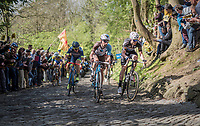 early breakaway group up the infamous Muur van Geraardsbergen (1100m/7.6%) that is back in the parcours after a 5 year hiatus<br /> <br /> 101th Ronde Van Vlaanderen 2017 (1.UWT)<br /> 1day race: Antwerp › Oudenaarde - BEL (260km)