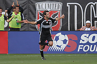 DC United midfielder Ben Olsen (14) celebrates his second goal of the game in the 72nd minute. Ben Olsen scored the first hat trick of his career against the NY Red Bulls. DC United defeated the New York Red Bulls, 4-2, at RFK Stadium in Washington DC, Sunday, June 10 , 2007.