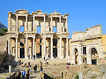 The ruins of the Celsus Library in the ancient Turkish city of Ephesus. c 135 AD.