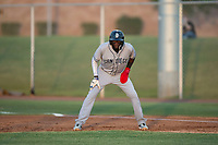 AZL Padres 1 second baseman Luis Guzman (7) takes a lead off first base during an Arizona League game against the AZL Cubs 1 at Sloan Park on July 5, 2018 in Mesa, Arizona. The AZL Cubs 1 defeated the AZL Padres 1 3-1. (Zachary Lucy/Four Seam Images)