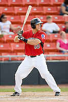 Edward Koncel #10 of the Hickory Crawdads at bat against the Rome Braves at  L.P. Frans Stadium May 23, 2010, in Hickory, North Carolina.  The Rome Braves defeated the Hickory Crawdads 5-1.  Photo by Brian Westerholt / Four Seam Images