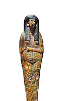 Ancient Egyptian Sarcophagus coffin of Tamutmutef, chantress of Amun, 18th Dynasty, (1550 to 1292 BC), Thebes. Egyptian Museum, Turin. white background.<br /> <br /> The Tamutmutef sarcophagus belongs to a group of 18th Dynasty coffins characterised by the representation of the deceased wearing everyday clothes instead of as a mummy. It is carved in relief to reveal the pleated linen dress eith arms and feet sticking out from the pleats of the cloth. This coffin may have been reused from earlier use updated with dense yellow decorations.
