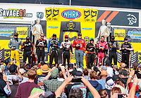 Sep 15, 2019; Mohnton, PA, USA; (from left) NHRA countdown to the championship top fuel drivers Richie Crampton, Mike Salinas, Leah Pritchett, Antron Brown, Steve Torrence, Doug Kalitta, Brittany Force, Clay Millican, Austin Prock and Billy Torrence pose for a group photo during the Reading Nationals at Maple Grove Raceway. Mandatory Credit: Mark J. Rebilas-USA TODAY Sports