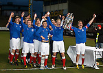 Grag Pascazio and Tom Walsh lift the Glasgow Cup after defeating Celtic 3-2