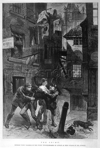 Garrotters at work in the London streets     Date: 1872     Source: Illustration in 'The Day's Doings' Vol. III 6th January 1872 page 401