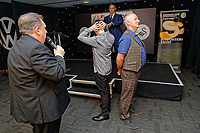 Pictured: Kev Johns (L) and Lee Trundle (TOP) toss a coin for heads or tails. Wednesday 02 May 2018<br /> Re: Swansea City AFC Official Player Of The Season Awards Dinner 2018 at the Liberty Stadium, Wales, UK.