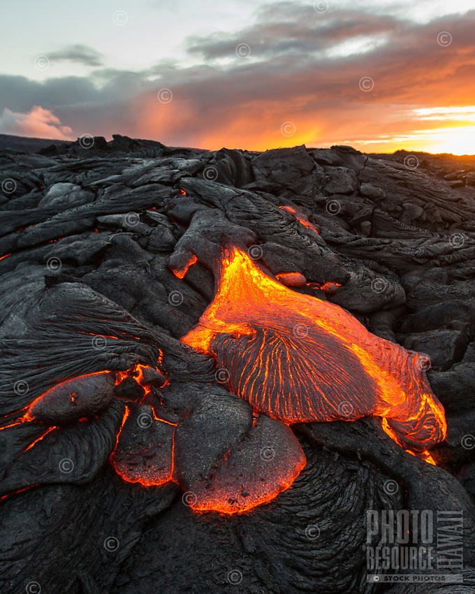 Lava Toes: The sun rises over molten lava toes spreading out on the coastal plains of Pulama Pali (of Holei Pali), Puna district, Hawai'i Island, July 2017.