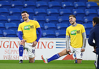 16th March 2021; Cardiff City Stadium, Cardiff, Glamorgan, Wales; English Football League Championship Football, Cardiff City versus Stoke City; Kieffer Moore of Cardiff City and Will Vaulks of Cardiff City enjoy a joke during warm up
