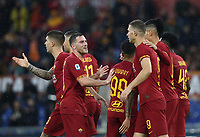Football, Serie A: AS Roma - Brescia FC, Olympic stadium, Rome, November 24, 2019. <br /> Roma's Edin Dzeko (central right) celebrates after scoring with his teammates during the Italian Serie A football match between Roma and Brescia at Olympic stadium in Rome, on November 24, 2019. <br /> UPDATE IMAGES PRESS/Isabella Bonotto