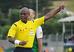 10 July 2014; XXX, Referee Jerome Efong Nzolo, during tonights match. UEFA Europa League First Qualifying Round, Second Leg, Aberystwyth Town v Derry City. Park Avenue, Aberystwth, Wales. Picture credit: Ian Cook / SPORTINGWALES